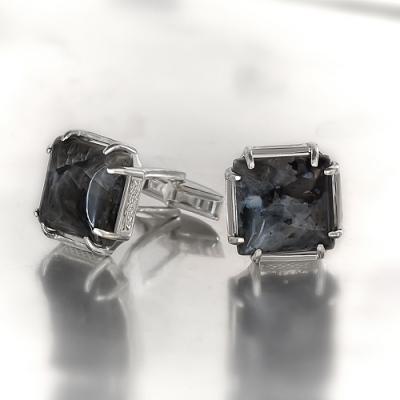 Запонки из , Без покрытия,  (Лабрадорит), Серый, , стиль - Классика, Свадьба, артикул - З 001