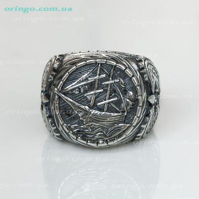 Перстень из , Оксидирование,  (Аква), Голубой, , стиль - Авангард, артикул - К 606 о