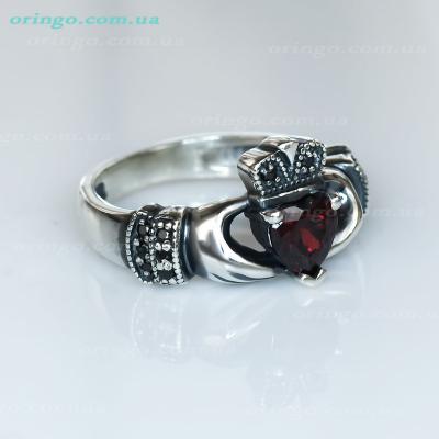 Кольцо из , Оксидирование,  (Гранатовый), Красный, , стиль - Классика, артикул - К 662 о