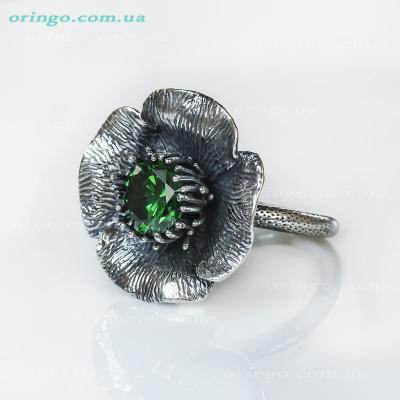 Кольцо из , Оксидирование,  (Зелёный), Зелёный, , стиль - Серебряная мечта, Флора, артикул - К 561 о