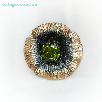 Брошь из , Комбинированное 1,  (Оливковый), Зелёный, , стиль - Флора, артикул - Д 026 к1