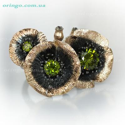 Кольцо из , Комбинированное 1,  (Оливковый), Зелёный, , стиль - Флора, артикул - К 563 к1