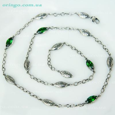 Цепь из , Оксидирование,  (Зелёный), Зелёный, , стиль - Авангард, артикул - Ц 020 о