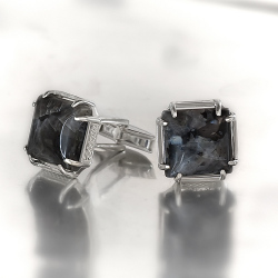 Запонки из , Без покрытия,  (Лабрадорит), Чёрный, , стиль - Классика, Свадьба, артикул - З 001