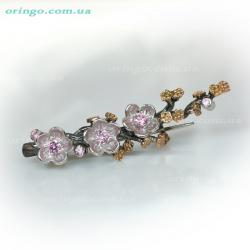 Брошь из , Комбинированное 1,  (Розовый), Розовый, , стиль - Флора, артикул - Д 028 к1