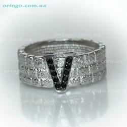 Перстень из , Комбинированное 15,  (Чёрный), Чёрный, , стиль - Авангард, артикул - К 550 к15