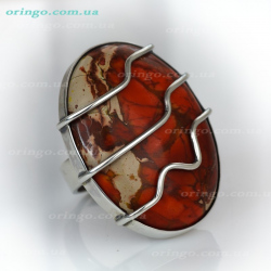 Кольцо из , Оксидирование,  (Яшма), Красный, , стиль - Серебряные сплетения, артикул - К Ф-063 о